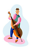 Double bass player cartoon character. Professional musician playing string acoustic instrument, improvisation. Classical music concert, jazz festival. Contrabassist flat vector retro illustration