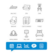 Double bed, table lamp and armchair icons. Chair, lamp and vintage mirror linear signs. Wall shelf, sofa and chest of drawers furniture icons. Report file, Graph chart and Chat speech bubble signs