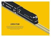 simple isometric illustration of double decker passenger train