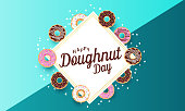 Doughnut Day card or background. Vector illustration.