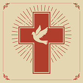dove and a cross on a light light background. Religion. catholic design. Church emblem template. Vector illustration.