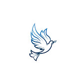 Dove Of Peace. Illustration with dove holding an olive branch symbolizing peace on earth. LIne Art dove. Ink painting style. Line art for logo and design. Vector illustration. Peace logo.