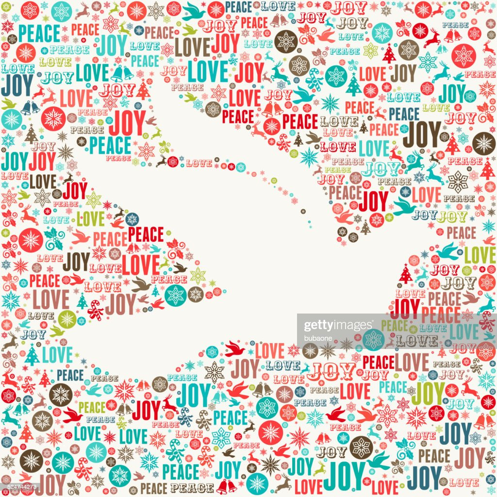Dove on Holiday Christmas Background Pattern : Vector Art