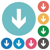 Down arrow white flat icons on color rounded square backgrounds