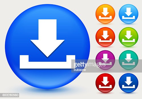 Download Icon on Shiny Color Circle Buttons : Vector Art