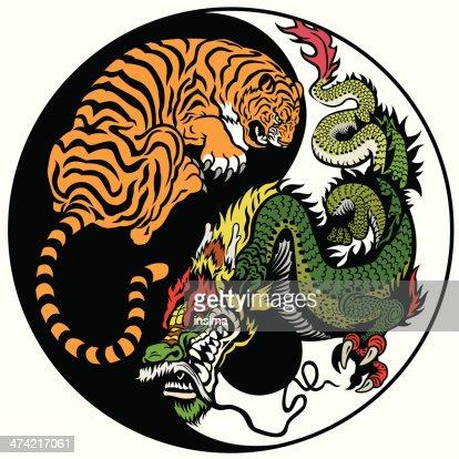 Drachen Und Tiger In Yinyangsymbol Vektorgrafik Thinkstock