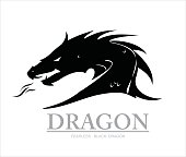 dragon head silhouette with the flame from the mouth. vector & illustration. Shooter Dragon. Dragon with Fire. Attacking Dragon. fearless black dragon.