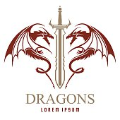 Dragons with sword logo template in vector
