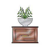 drawer with decorative plant icon over white backgorund vector illustration