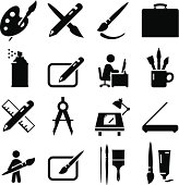 Creative art, painting and drawing icons. Editable vector icons for video, mobile apps, Web sites and print projects. See more icons in this series.