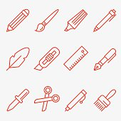 Drawing and Writing tools icon set, thin line style, flat design