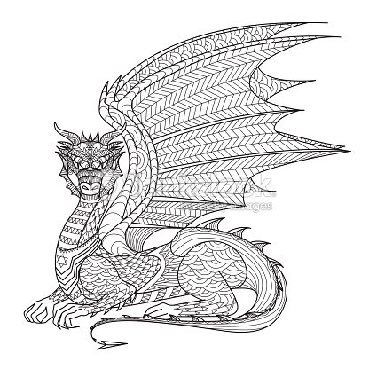 Drawing Dragon For Coloring Book Vector Art