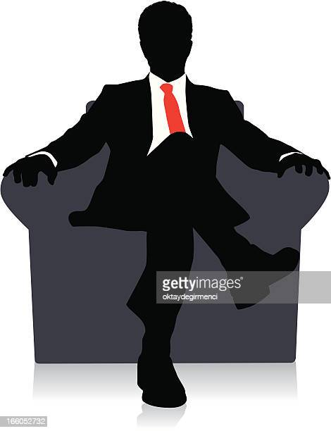 Drawing of a businessman sitting on a chair with red tie