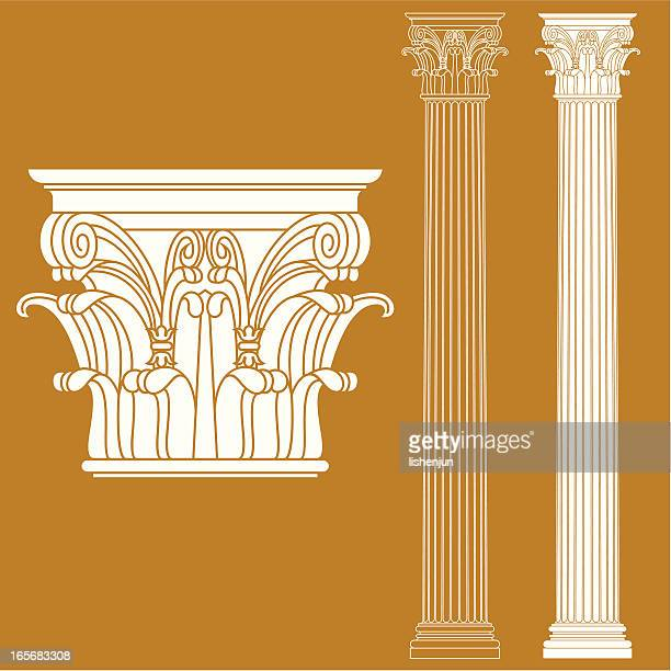 A drawing of a couple of Corinthian columns