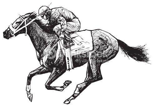 Dessin de cheval et rider clipart vectoriel thinkstock - Dessin cheval de course ...