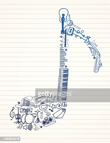 Drawing of a music note made of instruments : Vector Art