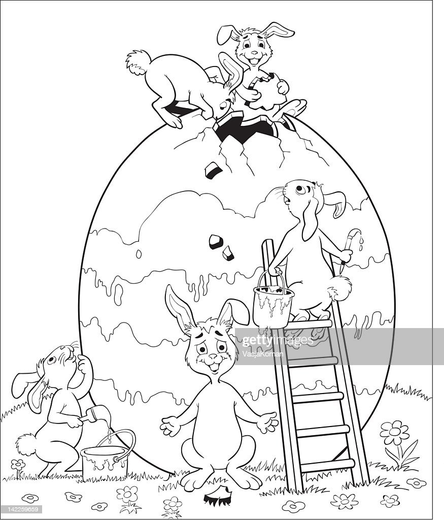drawing of easter bunnies painting a very large egg vector art