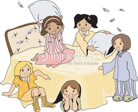 drawing of five girls at a pajama party vector art thinkstock
