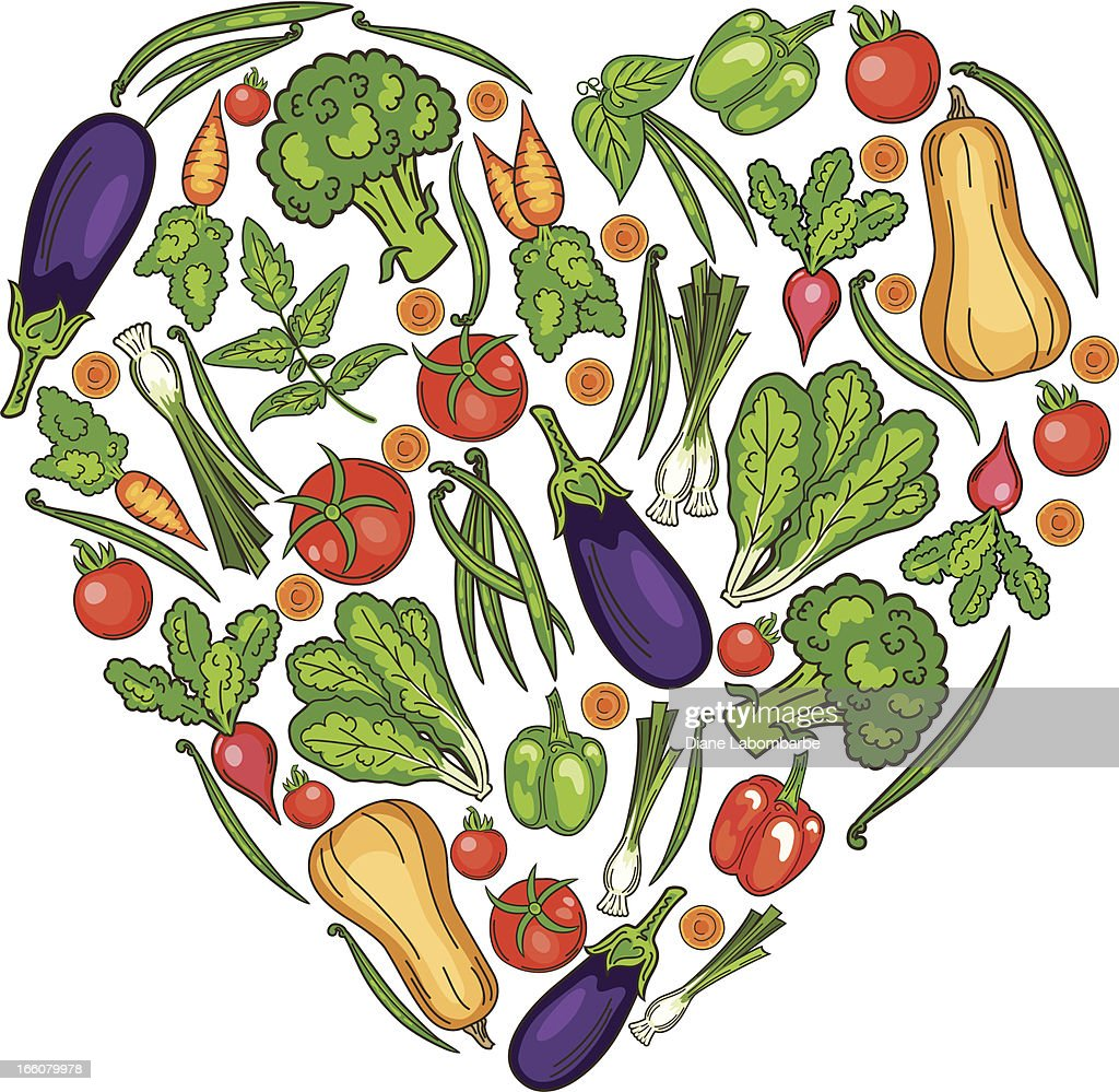 drawing of garden vegetables in the shape of a heart vector art