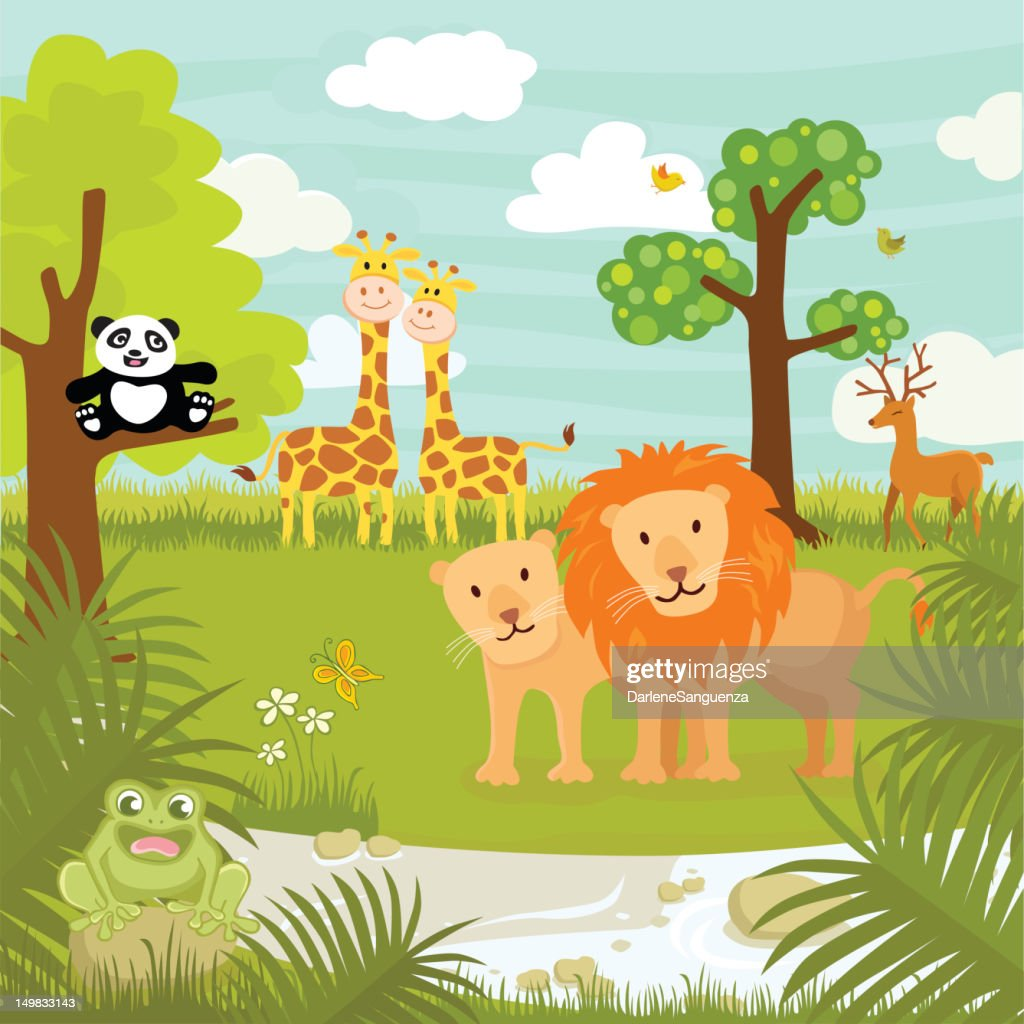 Drawing of jungle animals in the jungle