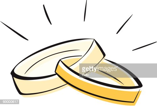 A Drawing Of Two Gold Wedding Rings Linked Together Vector Art