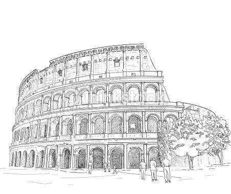 Dibujo Romano Coliseo Arte Vectorial Thinkstock