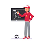Soccer coach man drawing game plan on chalk board playbook, teaching game tactics & instructing soccer team. Football match analysis scheme. Football game strategy playbook. Flat vector illustration