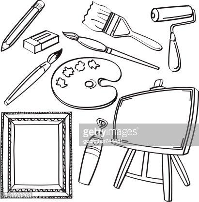 Pinsel clipart schwarz weiß  Zeichnung Tools Kollektion Vektorgrafik | Thinkstock
