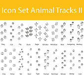 Drawn Doodle Lined Icon Set Animal Tracks II with 20 icons for the creative use in graphic design