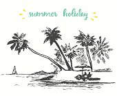 Beautiful hand drawn landscape with seaside view beach and a boat vector illustration sketch