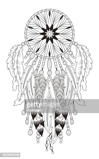 Dream Catcher Coloring Page Vector Art Thinkstock