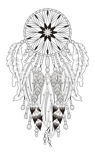 Pagina da colorare con acchiappasogni arte vettoriale for Acchiappasogni disegno
