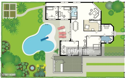 Dream house blueprint vector art getty images for Dream house blueprints