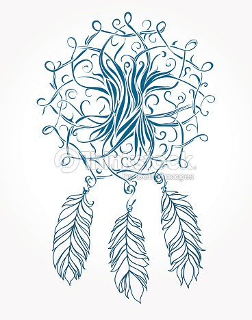 portebonheur indien celtic arbre symbole magique avec des plumes clipart vectoriel thinkstock. Black Bedroom Furniture Sets. Home Design Ideas