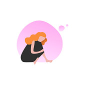 Dreamy woman flat vector illustration. Red haired girl in black dress sitting alone. Cartoon character isolated clipart. Female issues, personal problems concept. Elegant lady, teen on pink background