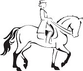 Stylized Dressage horse and rider, vector artwork.