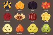 Vector set of dried fruits. Flat style.