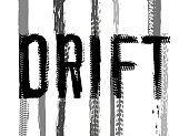 Off-Road hand drawn grunge drift lettering. Tire tracks word made from unique letters. Beautiful vector illustration. Editable graphic element in grey and black colours isolated on a white background.