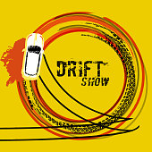 Drifting car top view. Beautiful vector illustration in grunge style. Automotive image in orange, black and yellow colors useful for posters, banners, prints and leaflets graphic design.