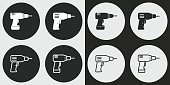 Drill vector icons set. Illustration isolated for graphic and web design.