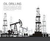 Drilling rigs and oil pumps silhouettes isolated on white background. Detail vector illustration.