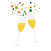 drink a toast to the party, vector on colorful background