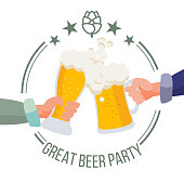 Drink Office Party Poster Vector. Hands Holding Beer Glasses. Clinking Glasses With Alcohol. Chin-Chin. Isolated Flat Illustration