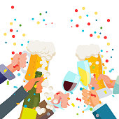 Drink Party Banner Vector. Raised Hands Holding Champagne And Beer Glasses. Toasting. Clinking Glasses With Alcohol. Celebration Event Design Isolated Flat Illustration