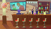 Drinking Establishment. Interior of Pub, Cafe or Bar with Counter, Chairs and Shelves with Alcohol Bottles. Glasses, Tv with Movie, Dart, Wooden Decor with Brick Wall. Cartoon Flat Vector Illustration