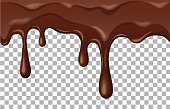 Dripping melted chocolate. vector illustration