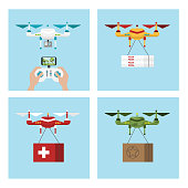 Drone delivery set. Military and aid supply, playing and food delivery.