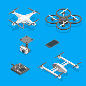 Drones and Equipment Technology Control Set Isometric View on a Blue Background Professional Electronic Device for Surveillance. Vector illustration