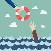 Drowning businessman getting lifebuoy from other businessman. Business concept