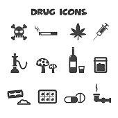 drug icons, mono vector symbols